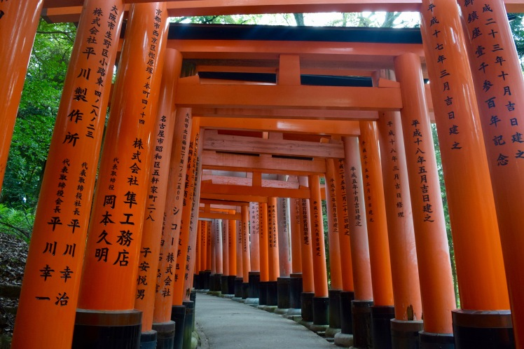 Most of the paths in Fushimi Inari Shrine are through tunnels of tall torii gates like these ones. | Photo by Alexandra Pamias